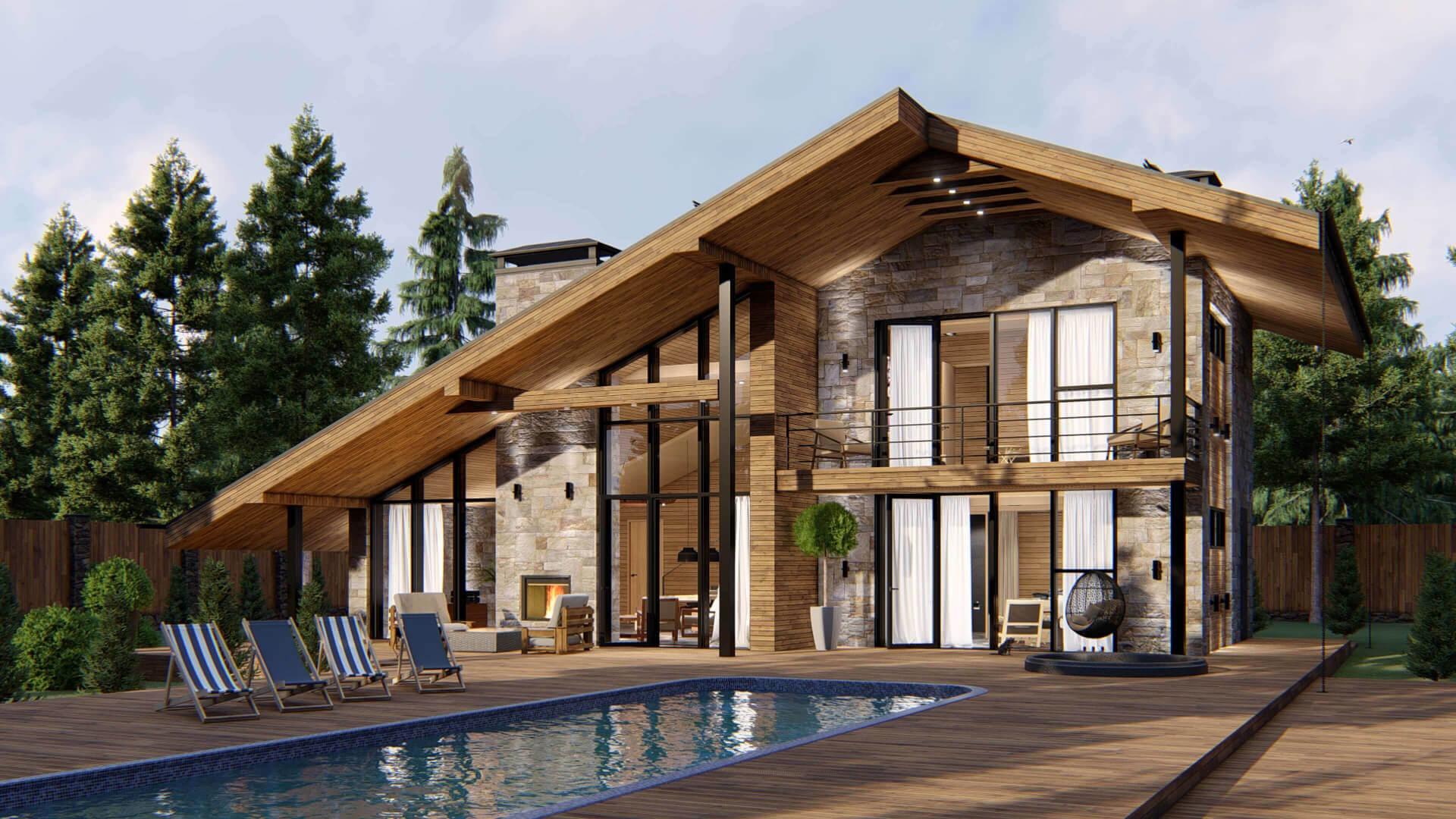 ширина красивые дома в стиле шале проекты фото первую очередь